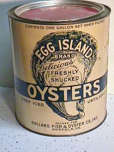 Rare White Stone Gal Ballard Egg Island Brand Oysters Tin