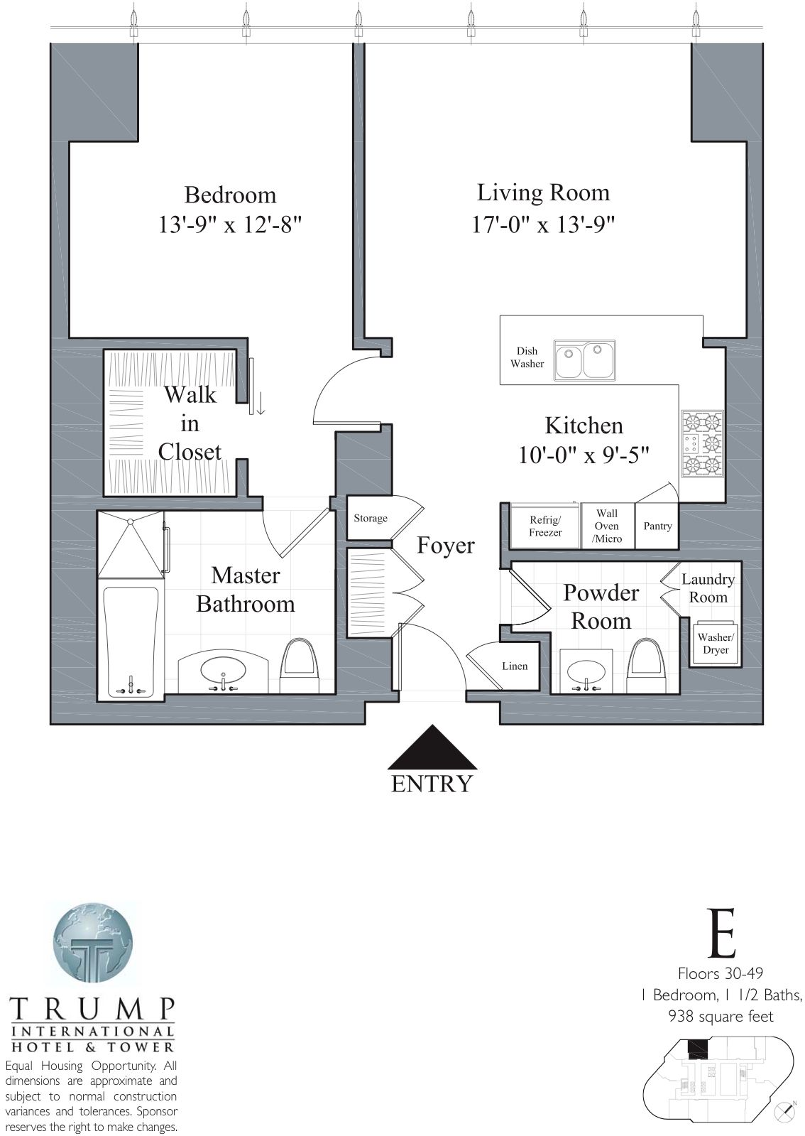 1 Bed 1 5 Bath Tier E Trump Tower Chicago Floor Plan Inspirasi Bangunan Gedung