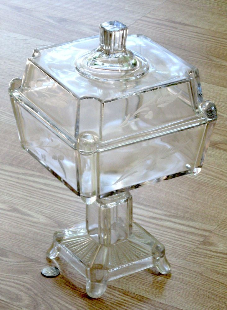 EAPG 13 inch LIDDED compote ADAMS #75 glass POST SQUARE PANES leaf cut 1880s