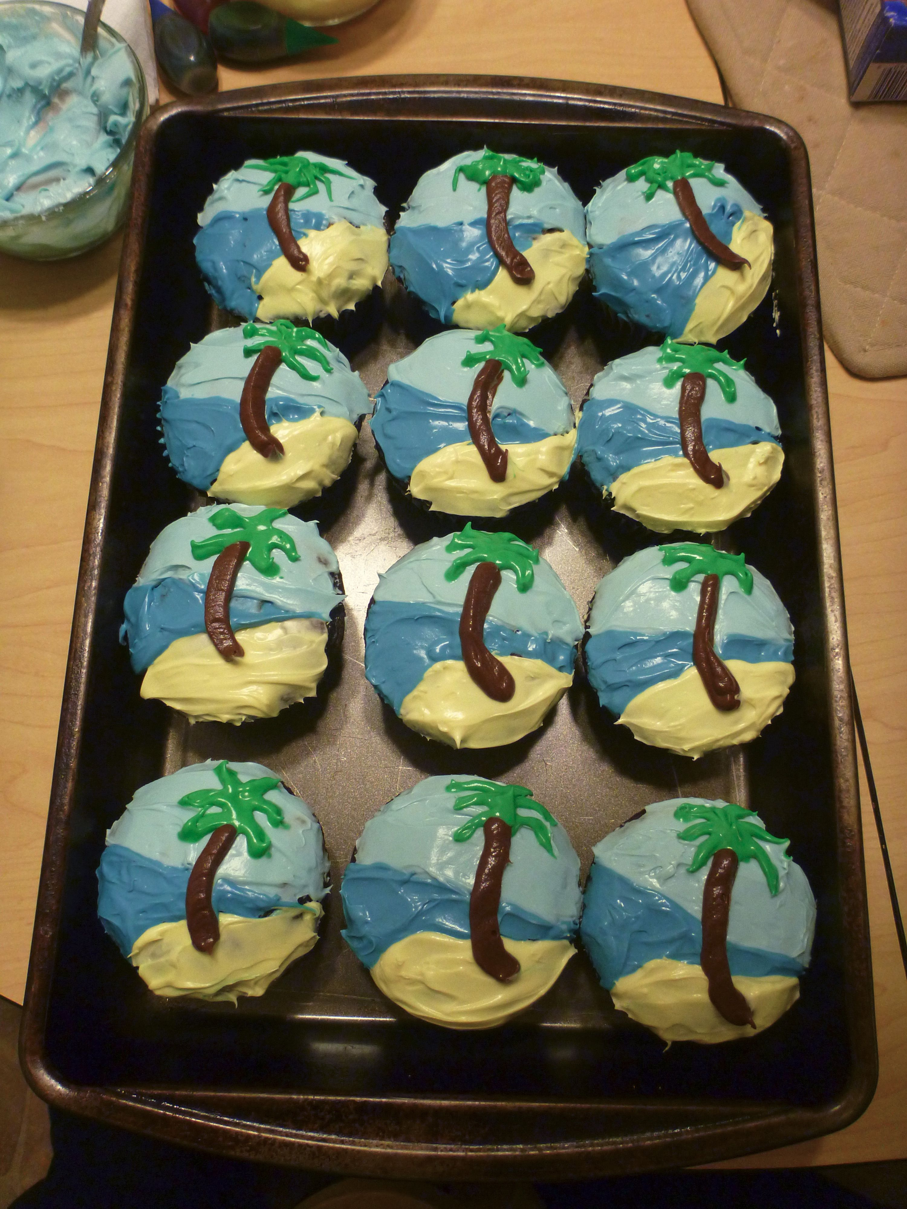 We made palm tree cupcakes to celebrate our destination wedding when ...