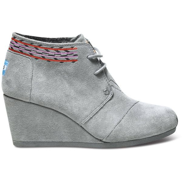 0e718340b68 TOMS Grey Embroidered Women s Desert Wedges ( 89) ❤ liked on Polyvore  featuring shoes