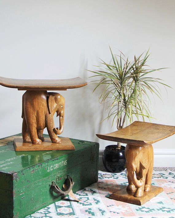 Astounding Wooden Elephant Stool Vintage Hand Carved Wooden African Onthecornerstone Fun Painted Chair Ideas Images Onthecornerstoneorg