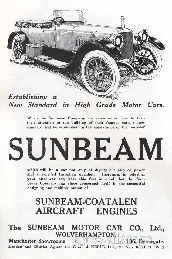 Vintage Sunbeam Car Ad From 1918 | Vintage Magazine Ads | Pinterest ...