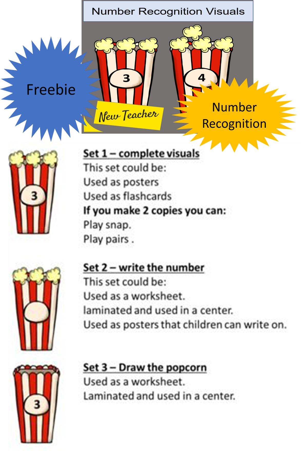 Number Recognition Free Fun Popcorn Activity