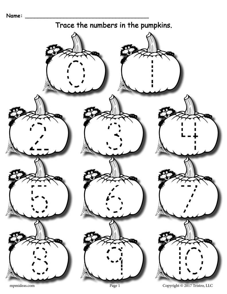 Printable Pumpkin Number Tracing Worksheets 1-20   Numbers ...