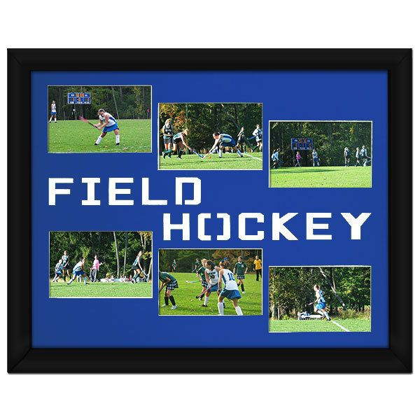 Field Hockey Photo Mat. Show your team spirit and frame your field hockey photos on your wall today! This makes a great gift for field hockey players.