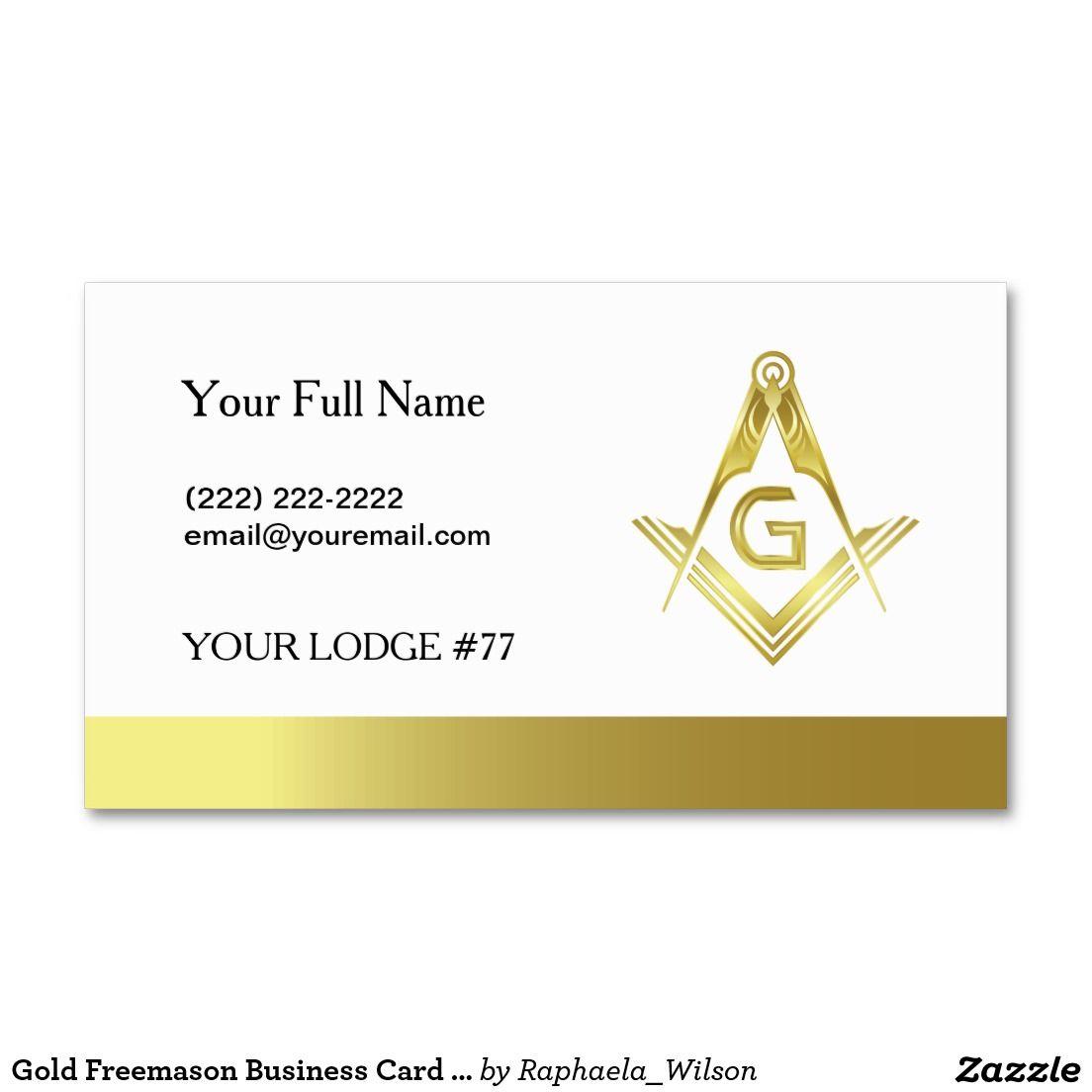 Gold Masonic Business Card Template Freemasonry Zazzle Com Business Card Template Card Template Masonic