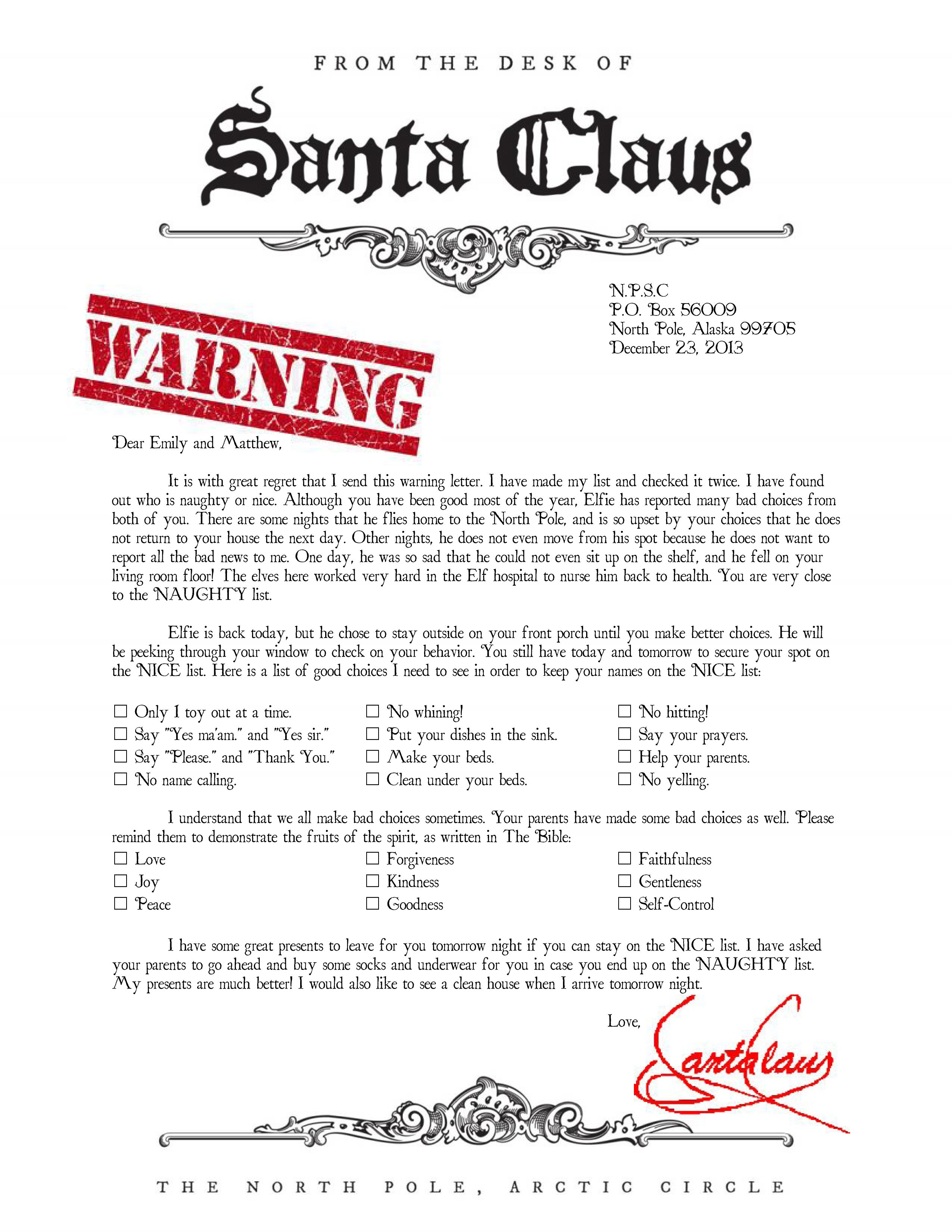 Warning letter from Santa Naught list Santa letter