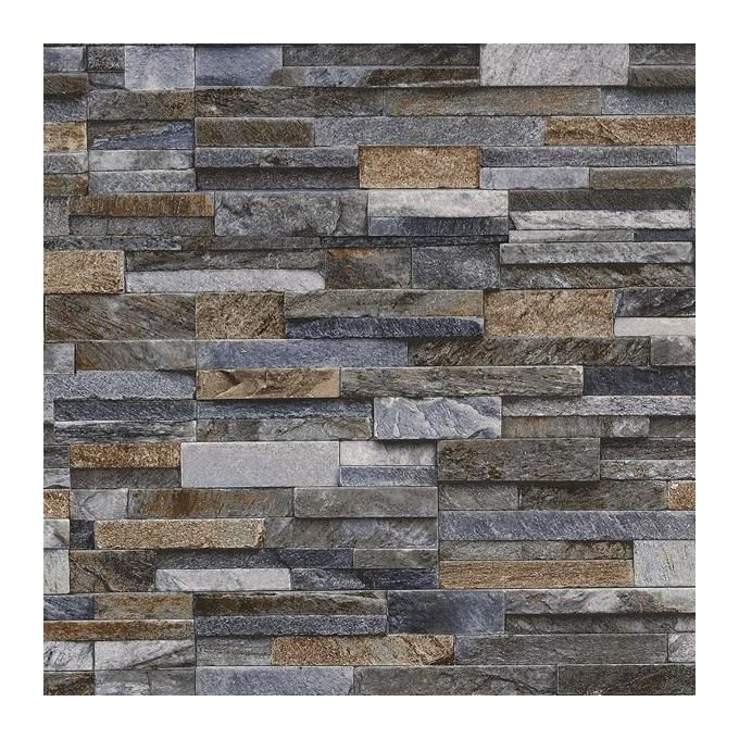 Slate Stone Brick Effect Wallpaper 3d Vinyl Textured Grey Bronze Brown Blue Wl 42106 50 Brick Effect Wallpaper Textured Brick Wallpaper Exterior Wall Tiles