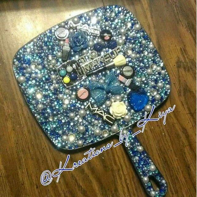 Blue Mac Theme Hand Held Mirror Mirror Crafts Diy Crystals Jewelry Mirror