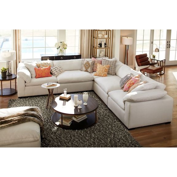 Plush 5 Piece Sectional Anders Ivory American Signature Furniture