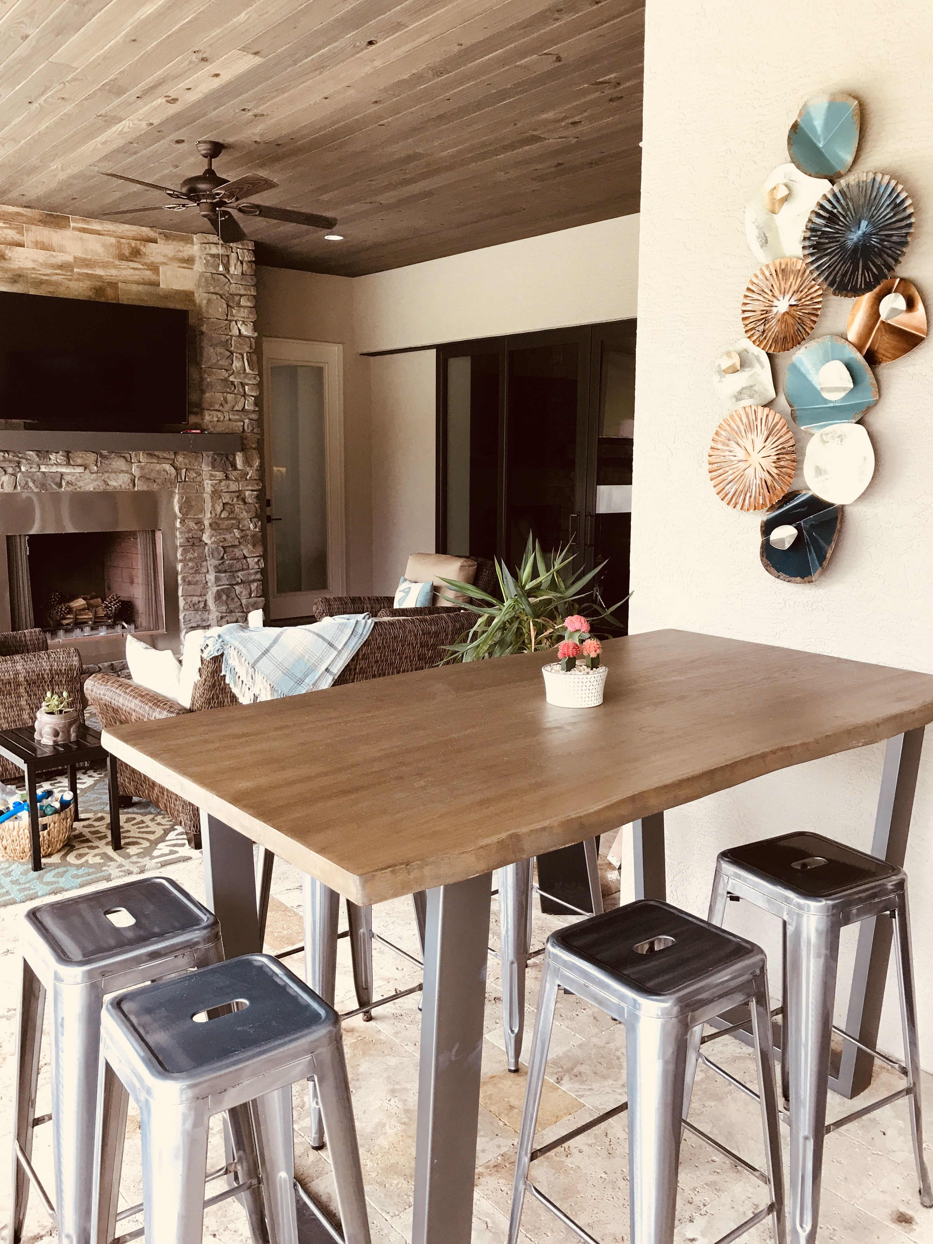 Astoria Live Edge Counter Or Bar Height Table Rustic Dining Room