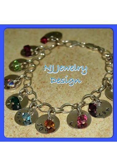 Grandmothers or mothers bracelet.  Handstamped with brithstone swarovski crystals.  Up to 12 names.