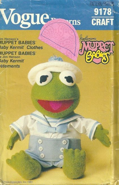 Vogue 9178 1980s Jim Hensons Muppet Babies Kermit the Frog Sailor DOLL CLOTHES Pattern Vintage Craft Sewing Pattern by patterngate.com