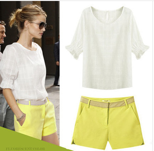 Yellow Shorts & White Blouse Set 8 -14 | Glamour