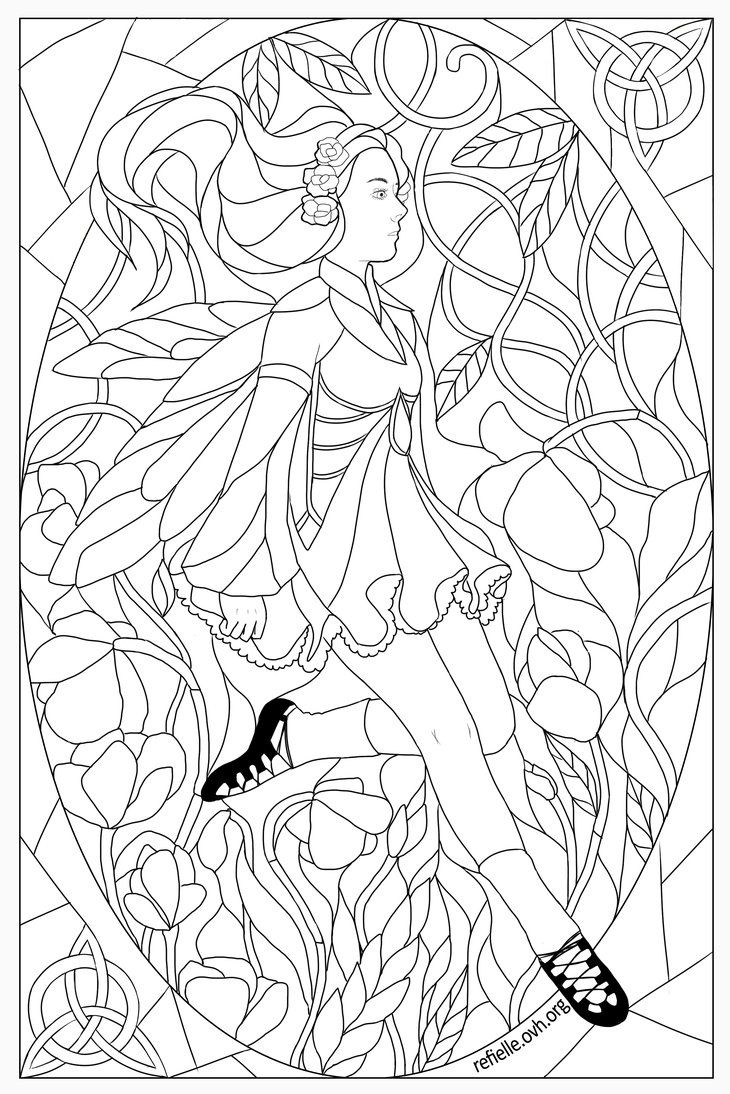 Colour Me Stained Glass Irish Dancer Dance Coloring Pages Princess Coloring Pages Coloring Pages