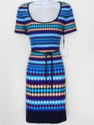 Calvin Klein CK Dress Size 6 Blue Purple Multi Geometric Print Shift Belt NWT