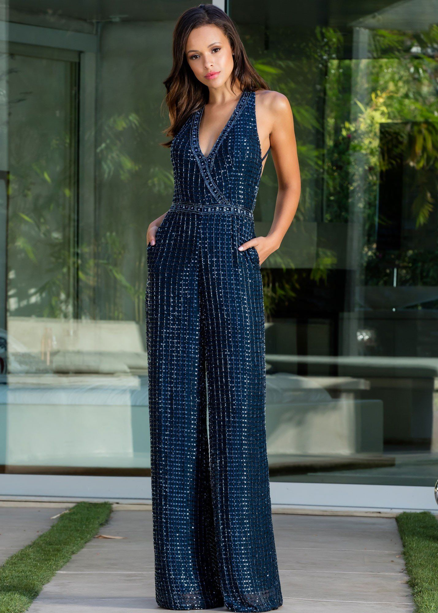 a57abfc136 Scala 48941 Beaded Jumpsuit with Pockets in 2019
