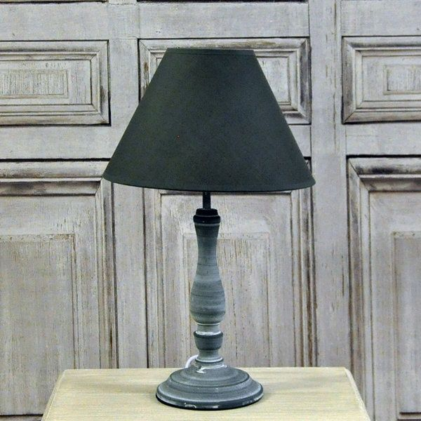 Classic dark grey washed table lamp with linen shade french chic classic dark grey washed table lamp with linen shade aloadofball Gallery
