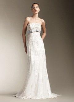 Sheath/Column Strapless Sweep Train Chiffon Tulle Wedding Dress With Sash Beading