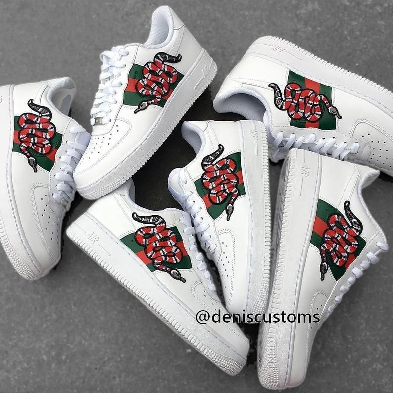 9c803ae027153 Nike Air Force 1 Low with Gucci Snake Inspired Design | Custom Nike ...