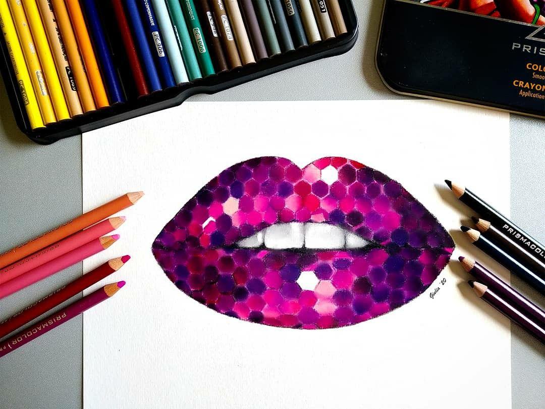 Purple Lips Drawing In 2020 Purple Lips Lips Drawing Colored Pencils