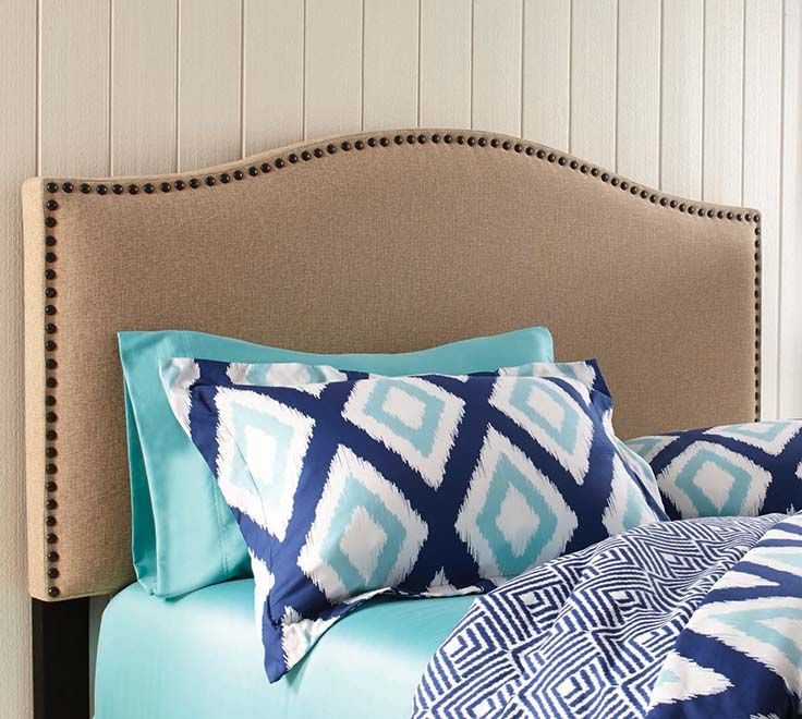 Better Homes And Gardens Grayson Full Queen Linen Upholstered Headboard With Nailheads Multiple Colors