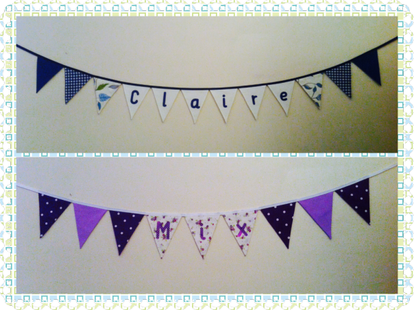 Both of these were made to fit the colour schemes of bedrooms. #bunting
