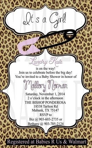 Cheetah And Purple Baby Girl Shower Invitation Diy Digital Purple