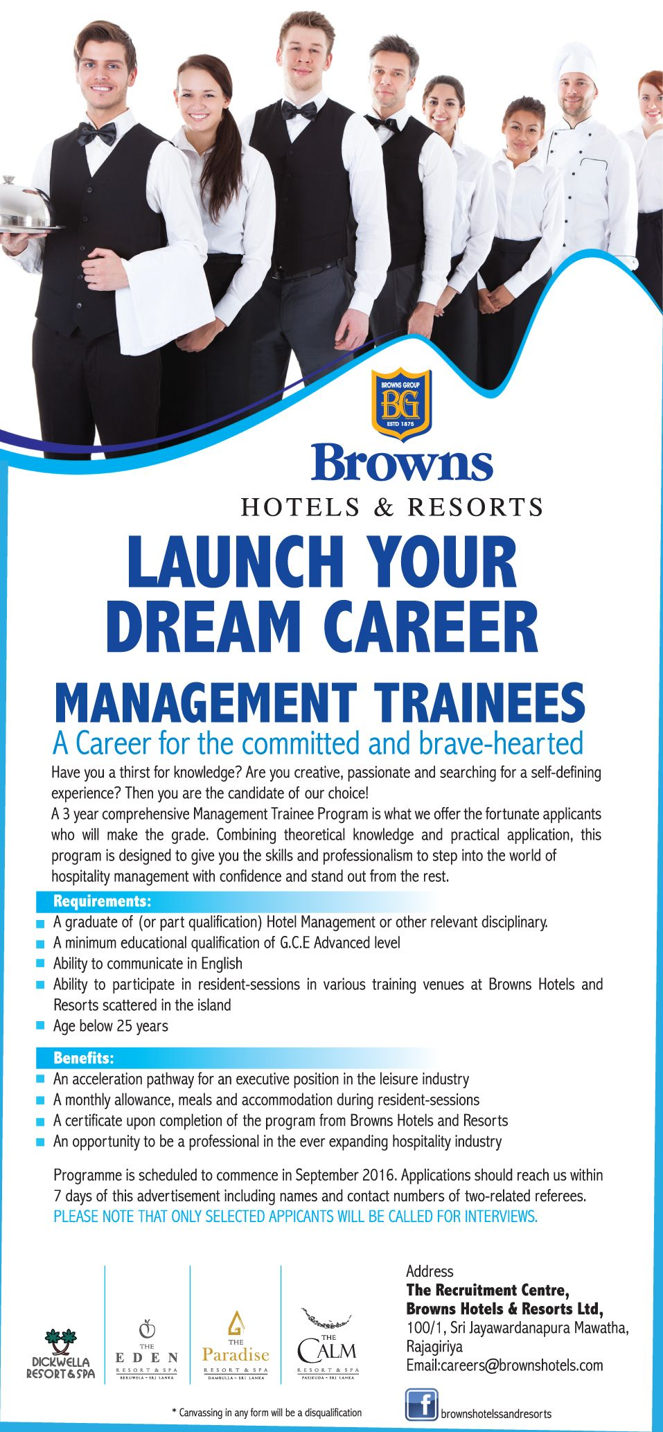 Hospitality Job Recruitment Browns Hotels Resorts Management Trainee Build Career