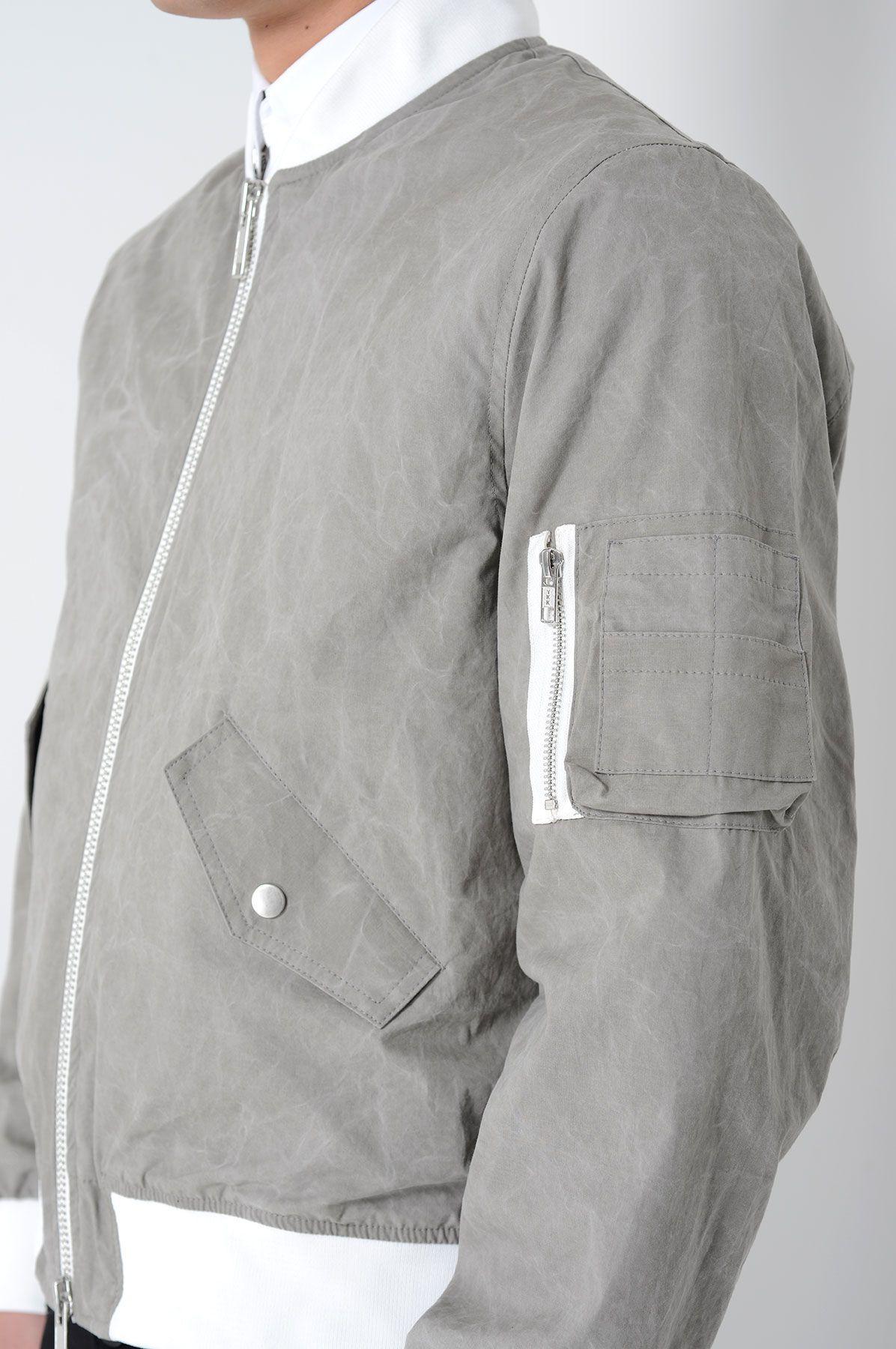Cmmn Swdn Hans Grey Cotton Bomber Jacket Mens Outfits Bomber Jacket Menswear [ 1800 x 1196 Pixel ]