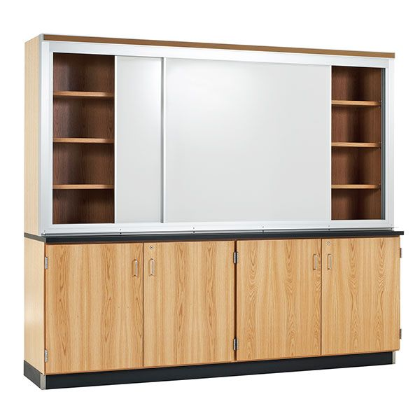 Sliding Whiteboard Learning Wall With Storage 8 W X 2 D X 7 3 H