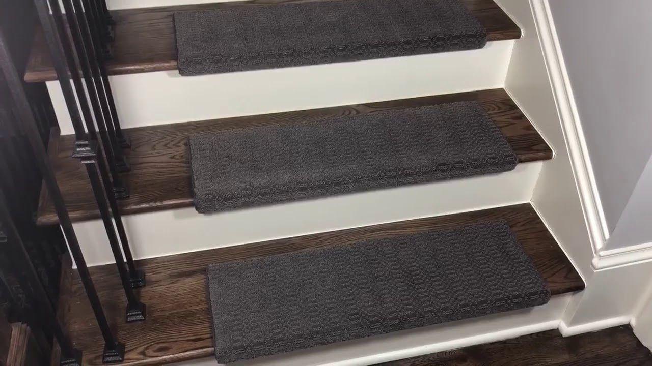 Luxor Gray Bullnose Carpet Stair Treads Bullnose Carpet Stair | Dean Flooring Stair Treads | Fiber Sisal | Bullnose Wraparound | Stick Bullnose | Sisal Carpet | Washable Non