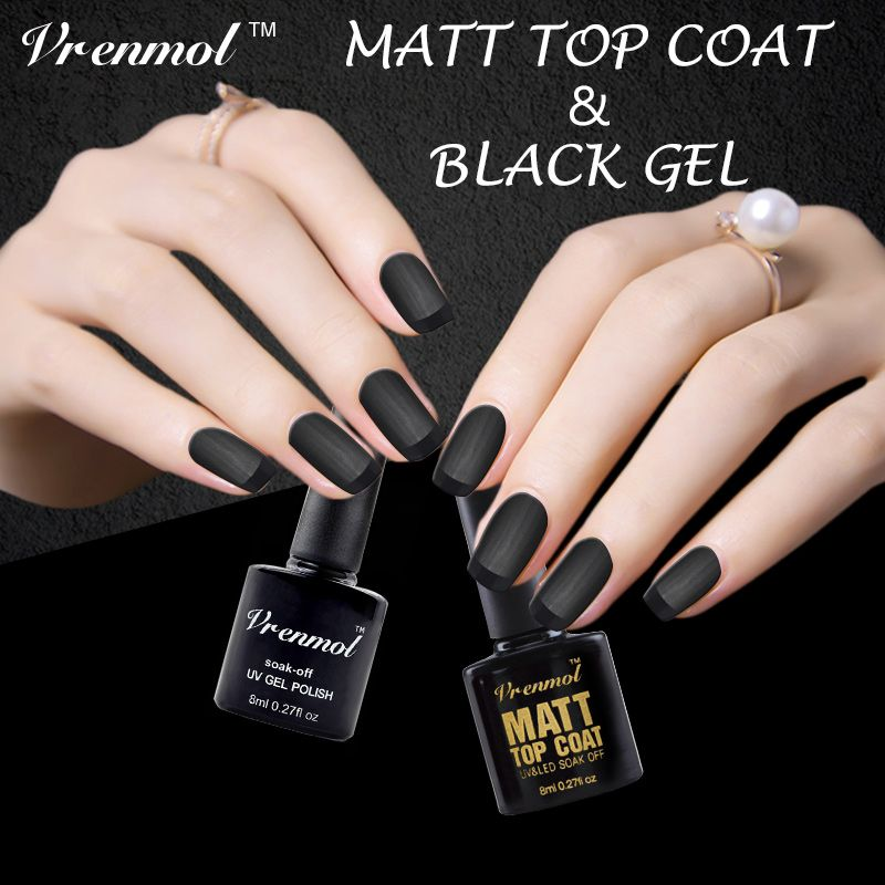 Vrenmol 2pcs Clear Matt Matte Top Coat+Black Color Gel Polish UV Gel ...