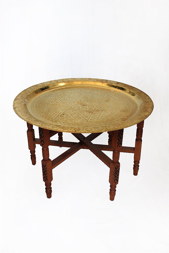 Charmant A Modern Twist On A Classic Moroccan Brass Plate Table. This Is A Two Piece  Set Of The Hand Etched Brass Plate And Also A Solid Wood Stand.