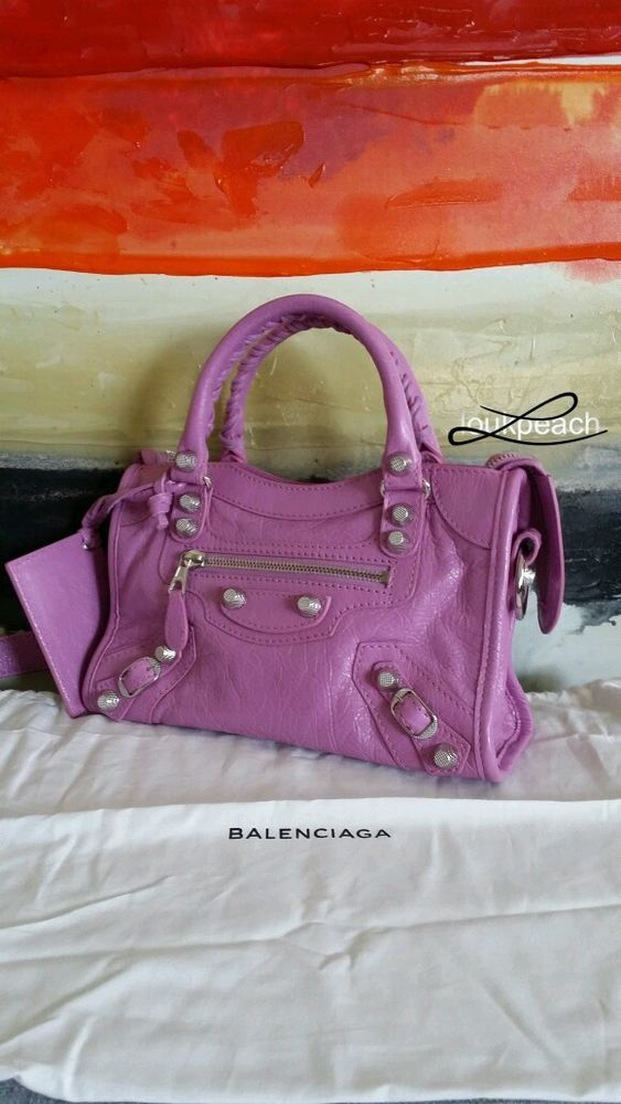 Balenciaga Giant 12 Silver City Mini Bag in Rose Berlingot