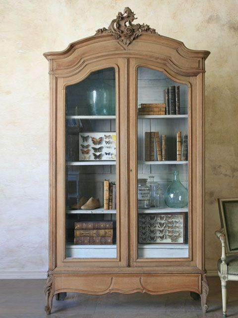 Antique French Style Armoire With Glass Doors   4995   The Bella Cottage