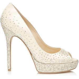Jimmy Choo Salt Ivory Satin P Toe Pumps With Crystals