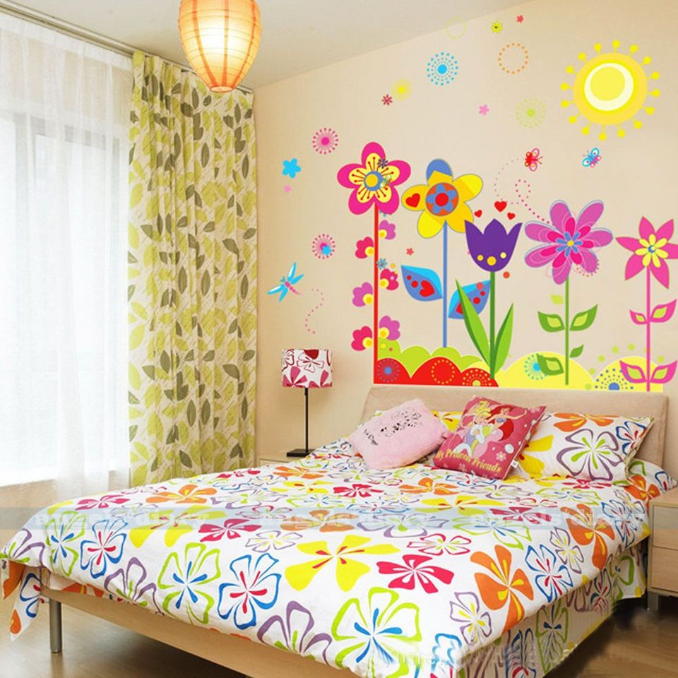 Removable Flowers Sunshine Wall Sticker Decal Wallpaper Kids ...