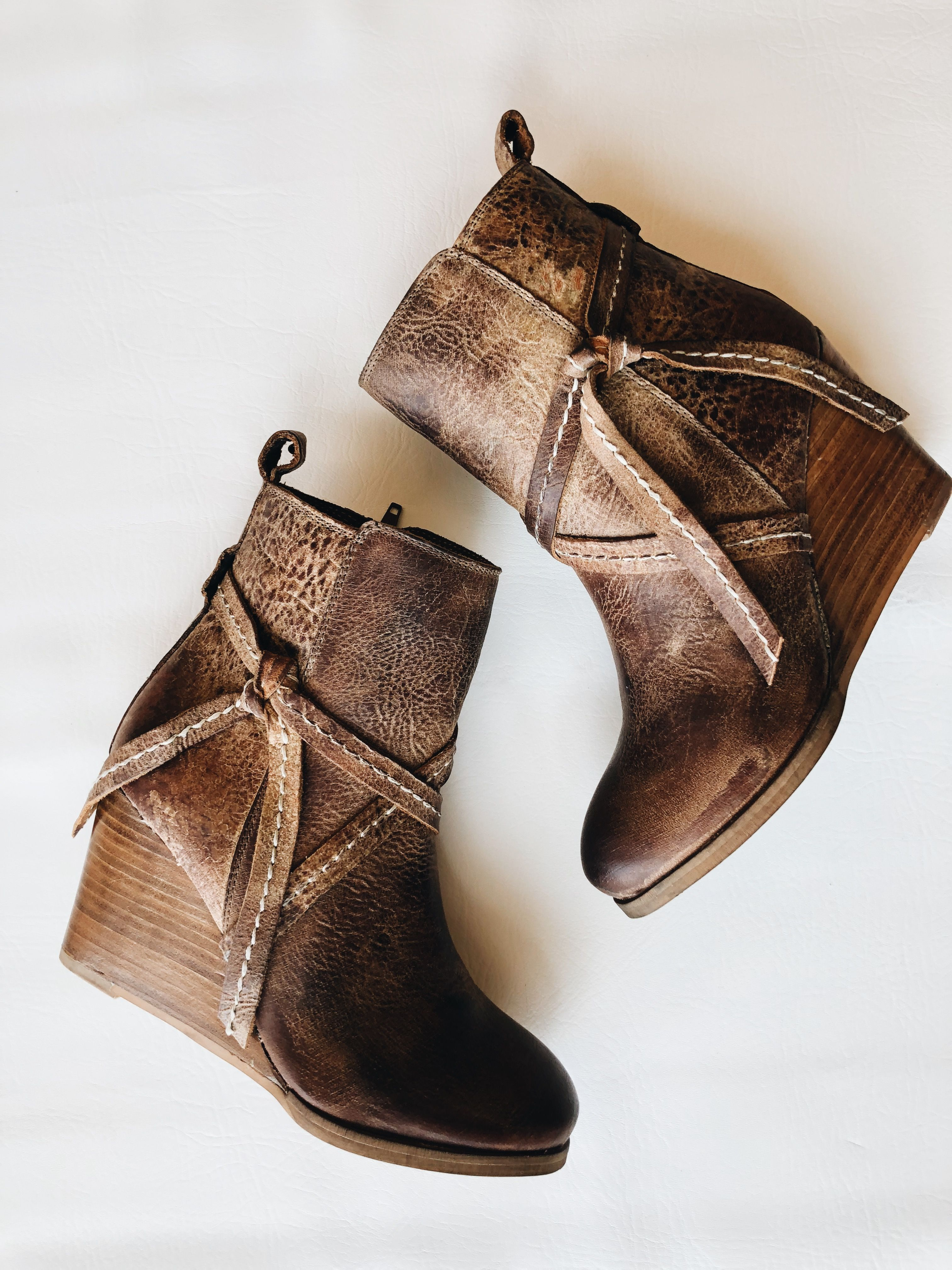 b3e65a2c7e2 Distressed Leather Ankle Boot - Stacked Heel Wedge - Diba True does it  best. This boot is waiting to be worn. Love the look of the distressed  leather ...