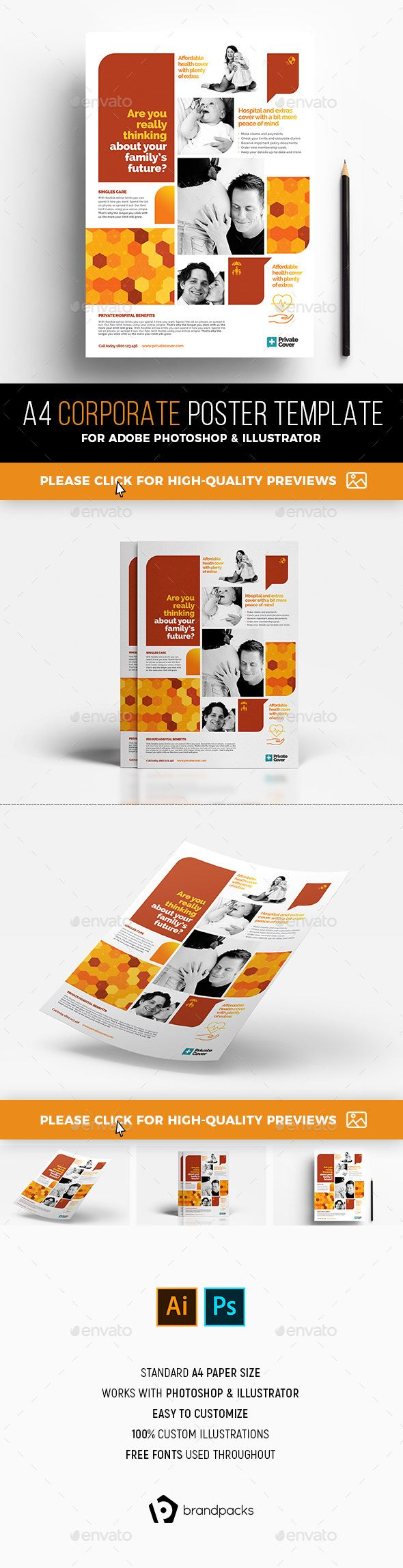 a4 corporate poster template a4 template and photoshop illustrator