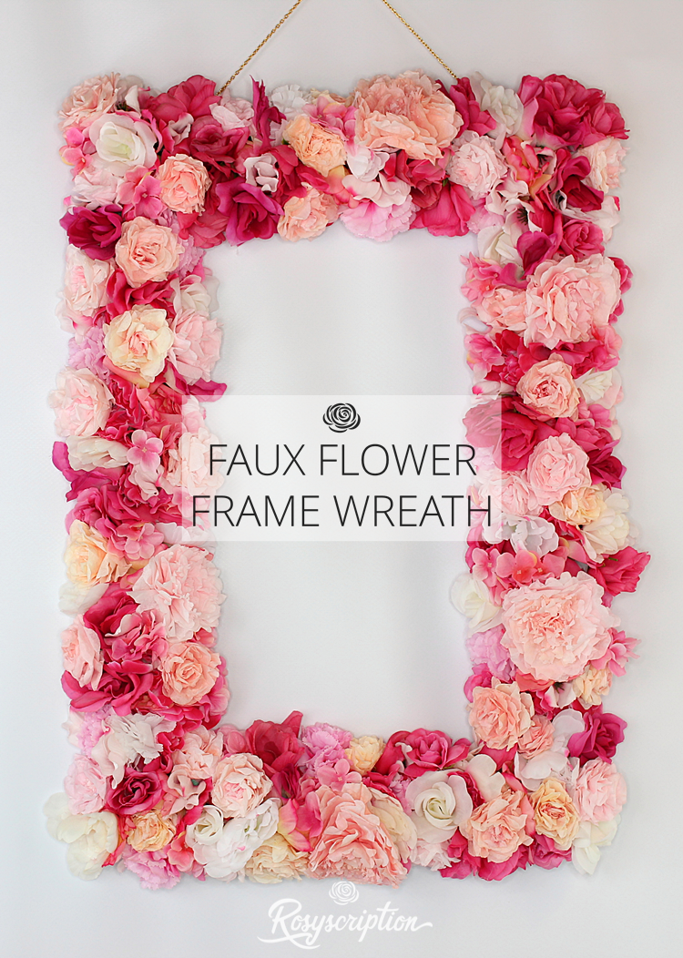 DIY faux flower frame wreath. Perfect for Valentine\'s Day or as a ...