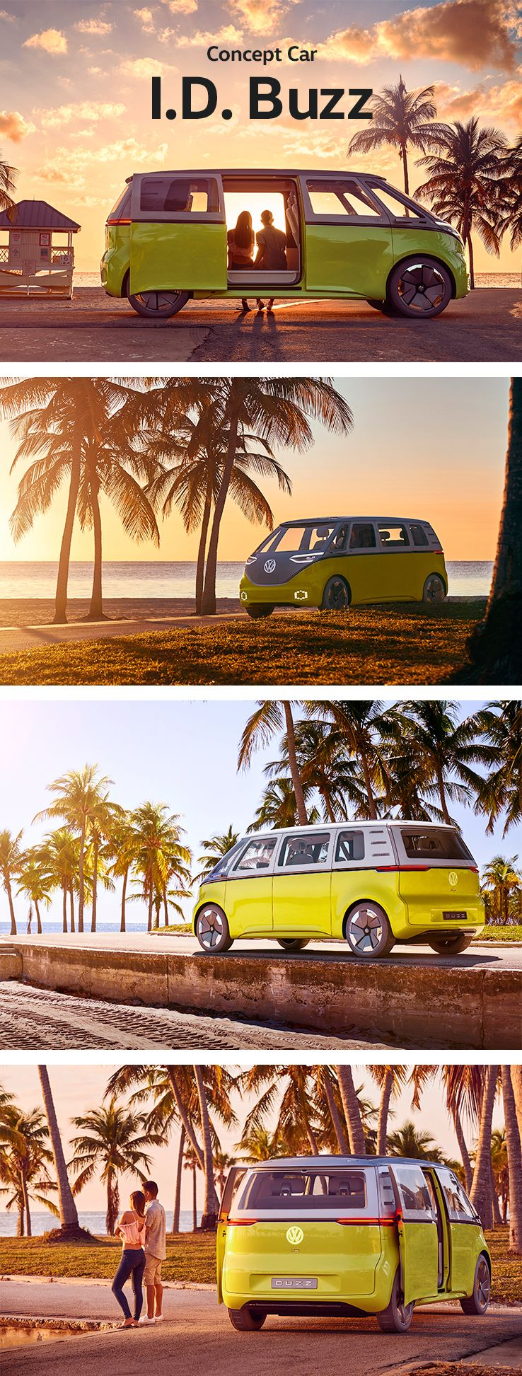 The Volkswagen I.D. Buzz is a next generation microbus: all-electric and fully connected. This concept car based on the new Modular Electric Drive Kit (MEB) offers comfort and plenty of space while the design was inspired by a true classic: The Volkswagen Campervan.