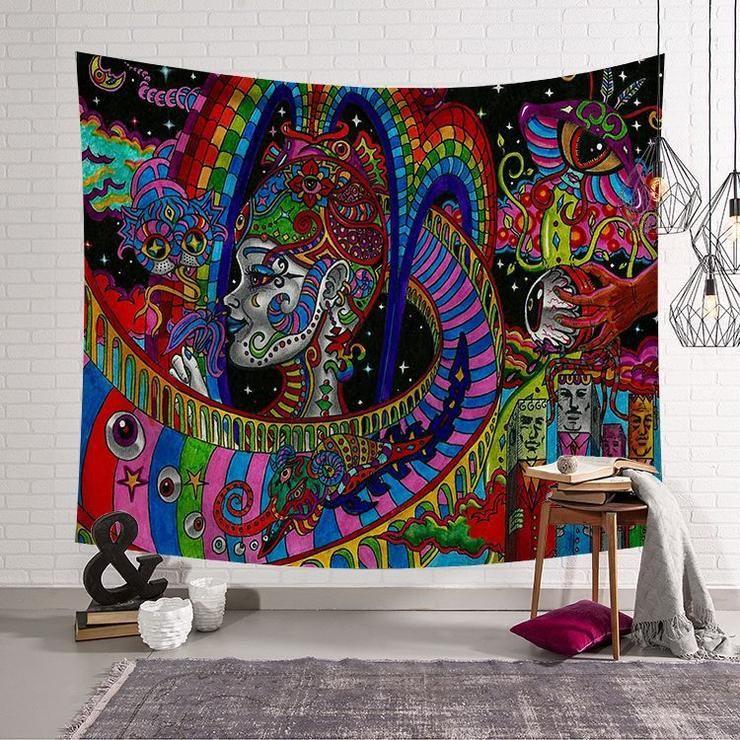 Hippie Arabesque Retro Psychedelic Trippy Tapestry Wall Hangings Gojeek Trippy Tapestry Tapestry Mandala Tapestry
