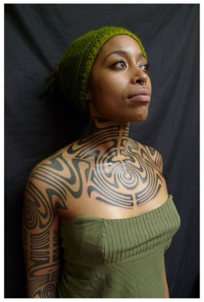 african american , black women tatted inked tatts tattoos
