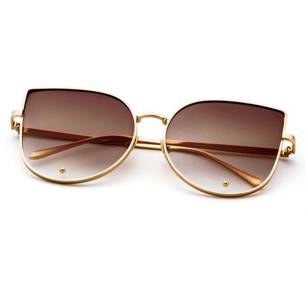 85af006962 Gold Frame Brown Cat Eye Stylish Sunglasses (9.20 BAM) via Polyvore  featuring accessories