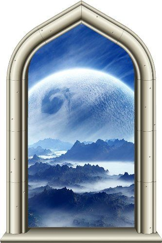 24 Castle Scape Window Instant View Frozen Planet 1 Wall Sticker Decal Graphic Mural Home Kids Game Room Office Art Decor New Stick Wall Graphics Scape Mural