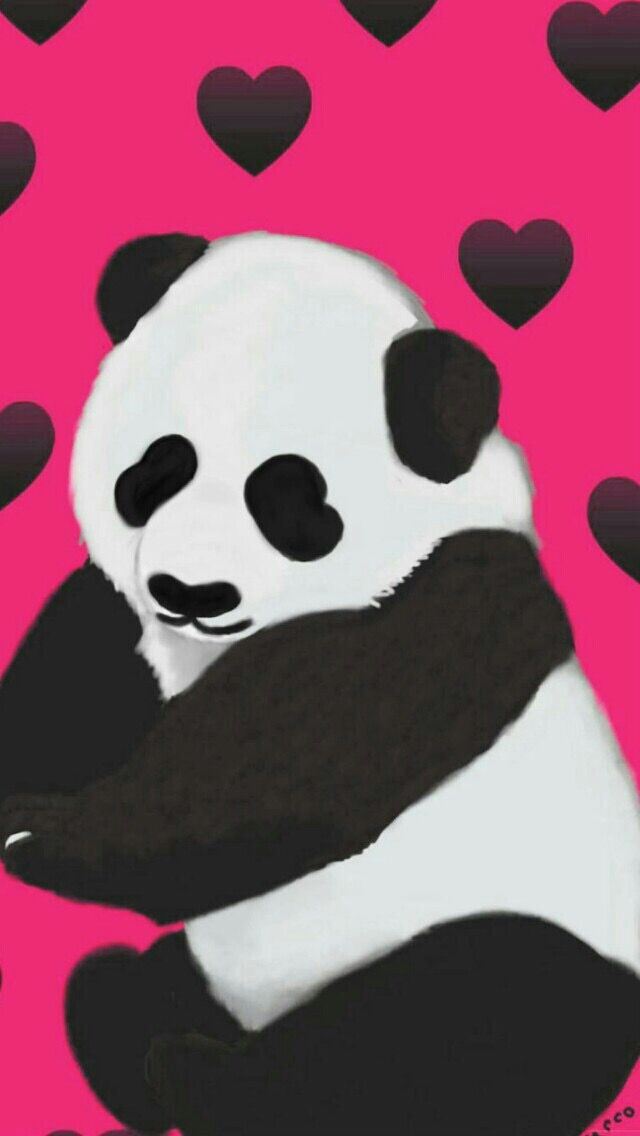Pink Panda Love O IPhone Wallpaper