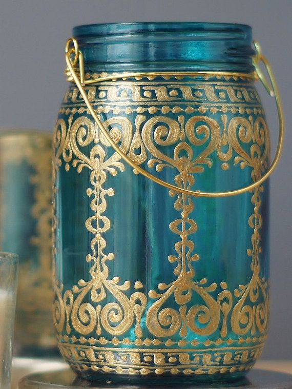 Hippie Decor Candle Lantern Centerpiece Boho Decor Henna End Table Mason Jar Decor Votive Candle Holder Bohemian Decor Tealight Holder