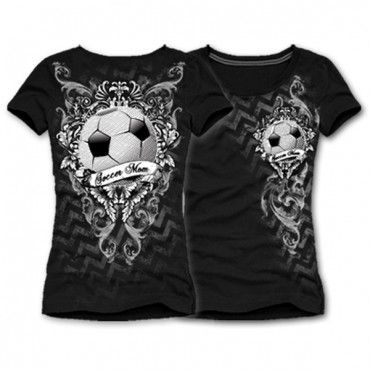 Katydid Chevron Soccer Mom Women's T-Shirt  Katydid Unique Sports Design!  Show support for your favorite team or sport.  Soccer Mom design.  Cotton lycra round neck, short sleeve fitted t-shirt.  With just the right amount of bling to sparkle and shine.  95% cotton, 5% spandex  MADE IN THE USA